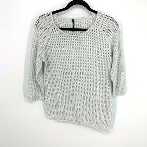 Rag&Bone Open Knit 3/4Sleeve Asymmetrical Pullover